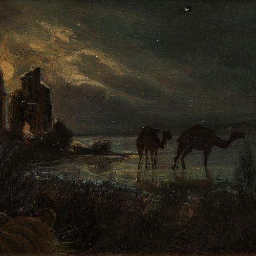 Cherubino Patà (1827 1899)  Tigre et dromadaires, huile sur panneau, signée, 9x1…