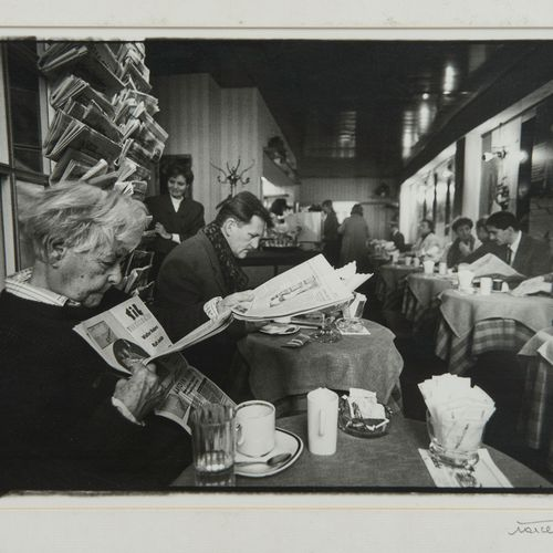 """Marcel Imsand (1929 2017)  """"9h Zurich, pause café"""", de la série """"Quotidiens au q…"""