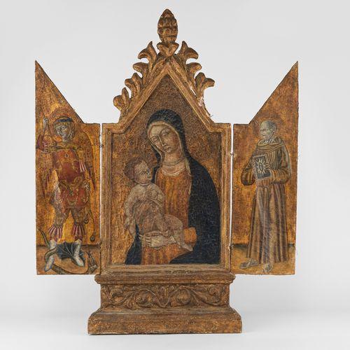 Dans le style de l'école siennoise du XV siècle  Triptyque avec Vierge et enfant…