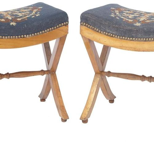 261 Pair of fruitwood stools, X shaped base with double baluster brace  Tapestry…