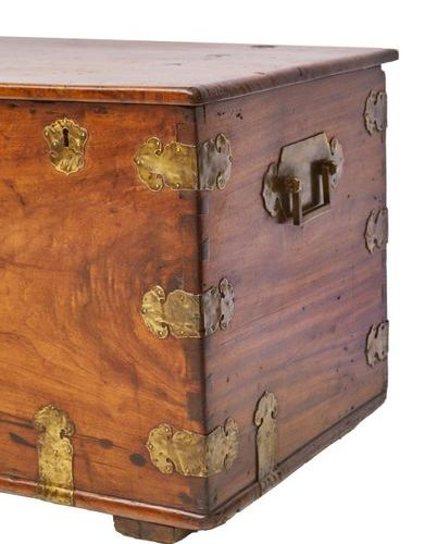277 Copper clad exotic wood box  Camphor?  Colonial work, late 18th, early 19th …