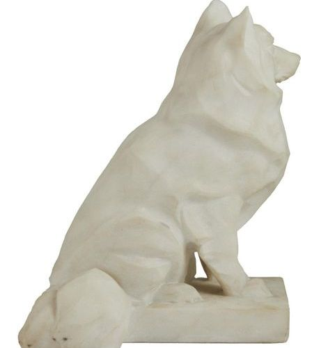 332 Claude Frédérique KORTHALS (XX)  Corgy sitting  Sculpture in marble, signed …