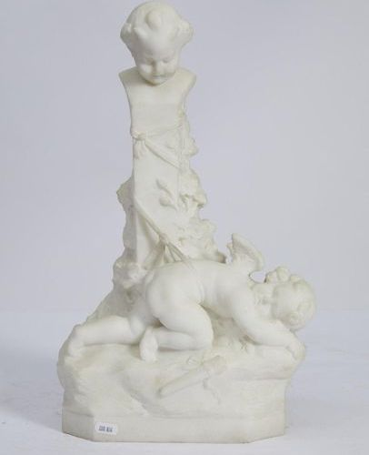 342 French School of the XIXth century  Angel in the Column  Sculpture in white …
