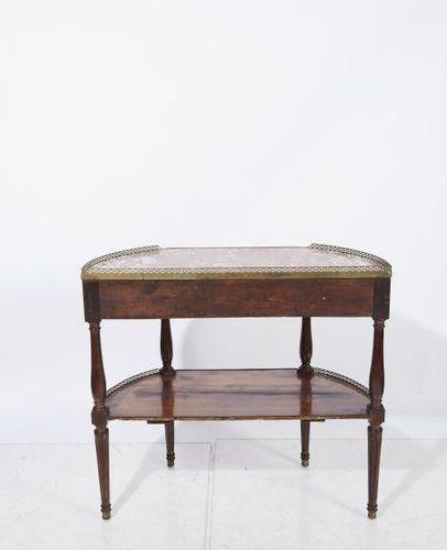 537 Mahogany and mahogany veneered half moon console table with a red marble top…