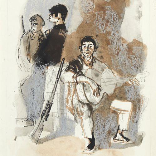 42 Lucien FONTANAROSA (1912 1975)  Trois garçons  Encre, aquarelle, crayon et pa…