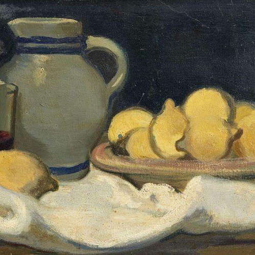21 Lucien FONTANAROSA (1912 1975)  Nature morte aux citrons, circa 1950  Huile s…