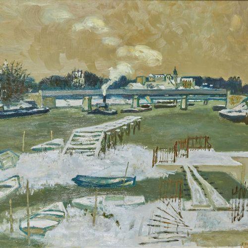 25 Lucien FONTANAROSA (1912 1975)  Le port de Conflans Sainte Honorine vu d'Andr…
