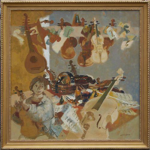 1 Lucien FONTANAROSA (1912 1975)  Le jeune luthier, 1973  Huile sur toile  Signé…