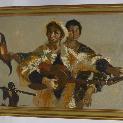 44 Lucien FONTANAROSA (1912 1975)  Commedia dell'Arte, circa 1965.  Huile sur pa…