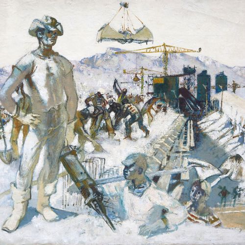 39 Lucien FONTANAROSA (1912 1975)  Le chantier de l'autoroute de Marseille, 1962…