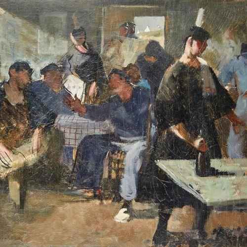 46 Lucien FONTANAROSA (1912 1975)  Au bar, circa 1940.  Huile sur toile  Signée …
