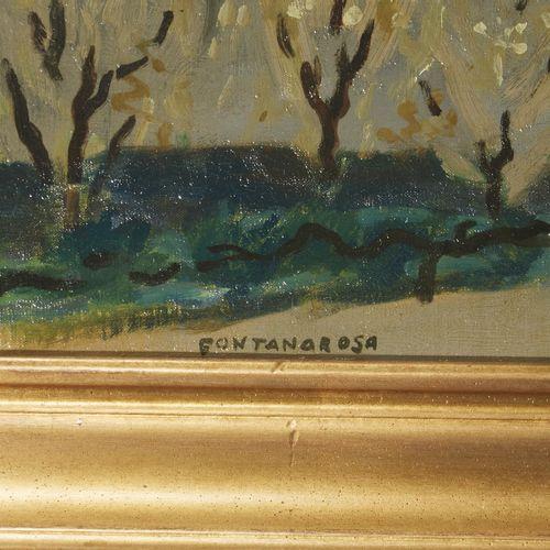 18 Lucien FONTANAROSA (1912 1975)  Verger à Acheux, 1954  Huile sur bois  Signée…