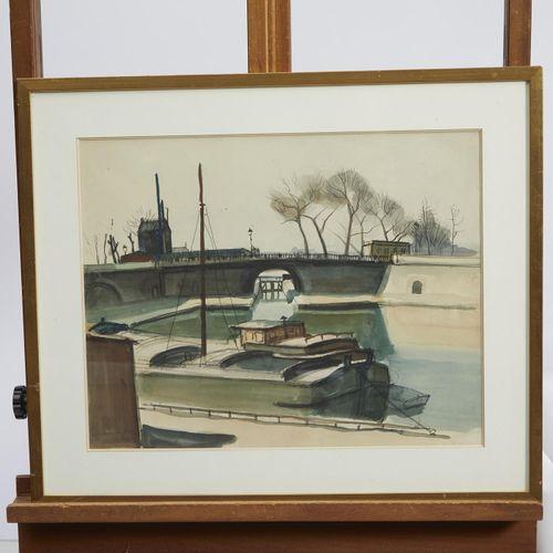 34 Lucien FONTANAROSA (1912 1975)  Le bassin de la Villette  Aquarelle gouachée …
