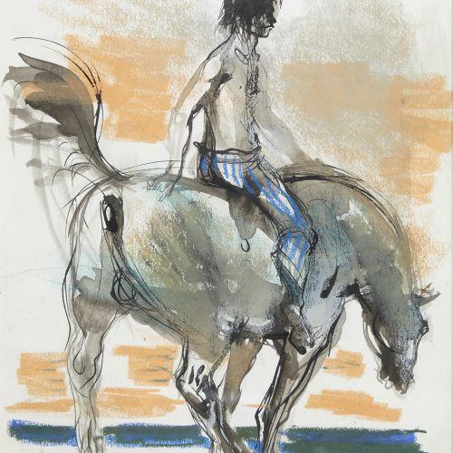 40 Lucien FONTANAROSA (1912 1975)  Garçon sur cheval  Pastel, encre et aquarelle…