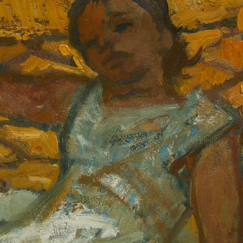 48 Lucien FONTANAROSA (1912 1975)  Jeune fille au hamac   Huile sur toile Signée…
