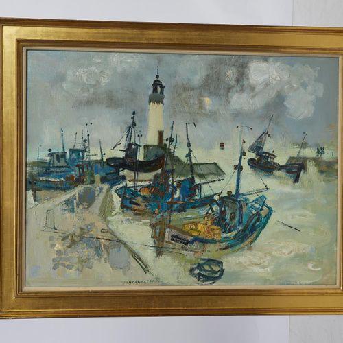 8 Lucien FONTANAROSA (1912 1975)  Bretagne, chalutiers dans le port  Huile sur t…