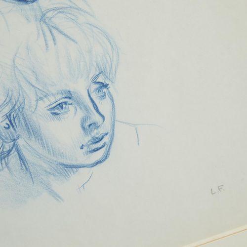 41 Lucien FONTANAROSA (1912 1975)  Trois études de tête, circa 1960  Crayon bleu…