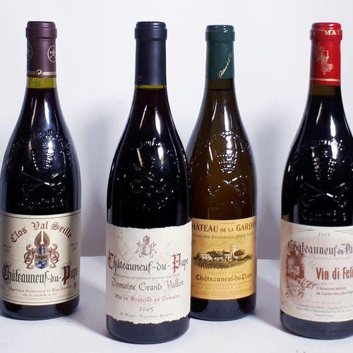6 B Assortiment de CHATEAUNEUF DU PAPE rouges, dont Bonvin, Grd Vallon, Gardine …