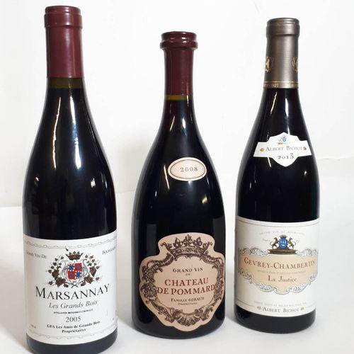3 B Assortiment rouges dont 1B MARSANNAY Les Grands Bois.  + 1B POMMARD 2008, Ch…