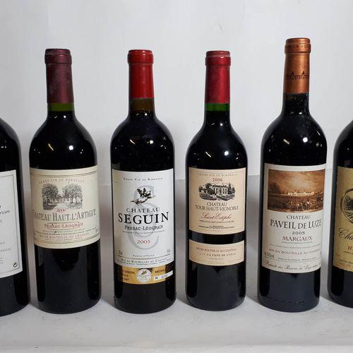 6 B Assortiment Château Canon de Brem 2002, Ht LARTIGUE 2006, SEGUIN 2005, TOUR …