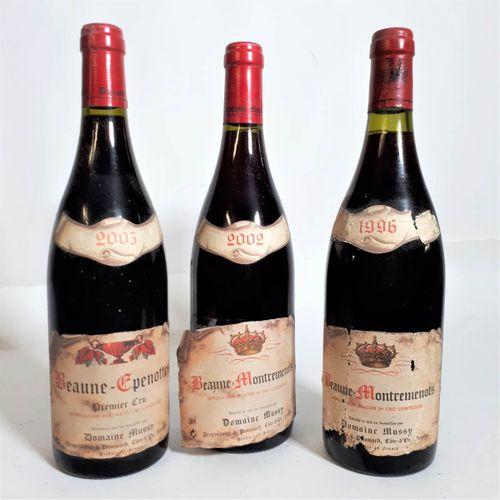 3 B Trio de BEAUNE rouges 1er crus dont 1B Epenottes 2003 & 2B Montremenots 2002…