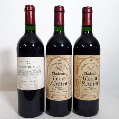 3 B dont 1B CHÂTEAU DU GLANA (els)  2B CHÂTEAU GLORIA (es, cla) St Julien 1998  …