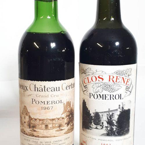 2 B Duo Pomerol 1967 dont 1B VIEUX CHÂTEAU CERTAN (M.E, efs, c.Belle)  1B CLOS R…