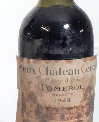 1 B VIEUX CHÂTEAU CERTAN ( 3,8cm, ets, ea décollée, cts) Pomerol 1948