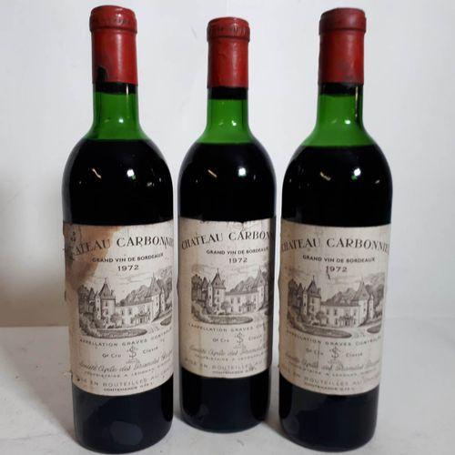 3 B CHÂTEAU CARBONNIEUX rouge (2H.E, 1M.E ets, ca, 1clc) Graves 1972