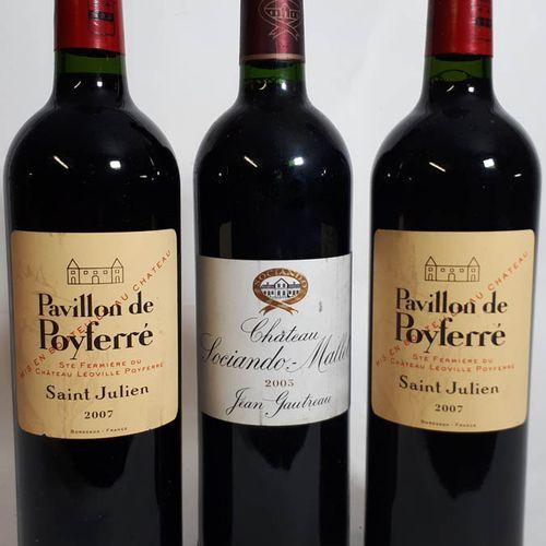 3 B dont 1B CHÂTEAU SOCIANDO MALLET (els) Ht Médoc 2003  & 2B PAVILLON DE POYFER…