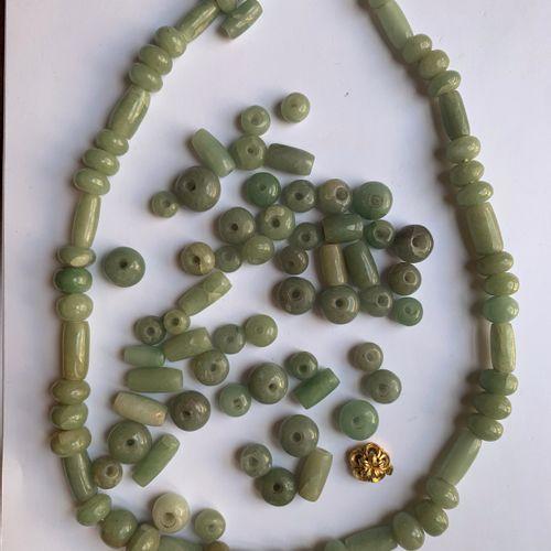 Succession Nelly KAPLAN et Claude MAKOVSKI : Deux colliers à perles en jadéite. …
