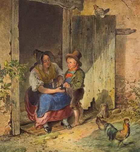 Ritter, Eduard (1808 1853). Le pécule. Aquarelle sur papier, signée et datée 184…