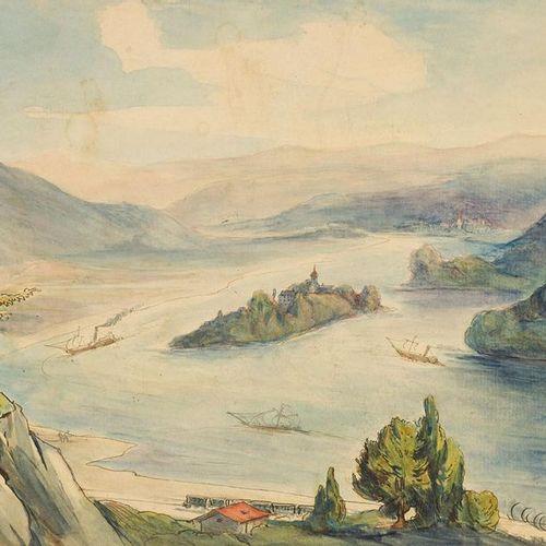 Sckell, Ludwig (1833 1912). Paysage du Rhin, vue de Drachenfels avec l'île de No…