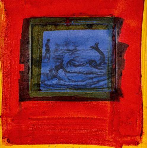 Hahn, Friedemann (born 1949). Sea piece with dolphin. Gouache, 2002, light cardb…