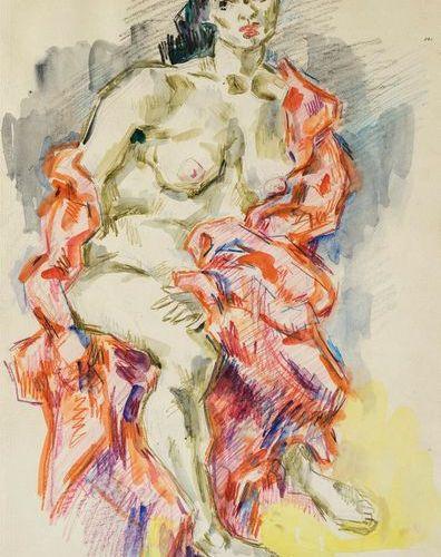 Hinrichsen, Kurt (1901 1963). Femme nue assise. Aquarelle et craie à l'huile sur…