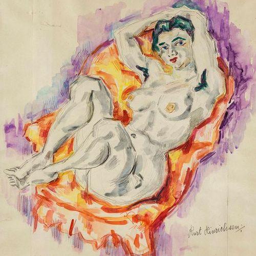 Hinrichsen, Kurt (1901 1963). Une femme nue allongée. Aquarelle et craie à l'hui…