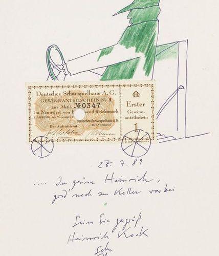 Janssen, Horst (1929 1995). L'Henri vert, en train de dessiner. Encre colorée et…