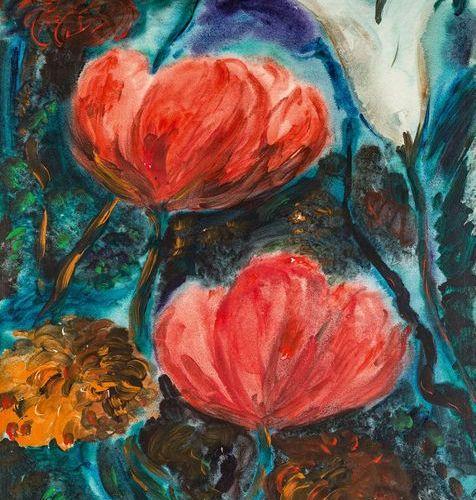 Kohler, Alfred (1916 1984). Fleurs fortes : tulipe, pavot, dahlia (printemps, ét…