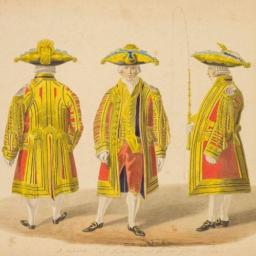 Kostüm. – Christoph Fries (1788 1857). Livrée, cour du cocher. Dessin. Gouache s…