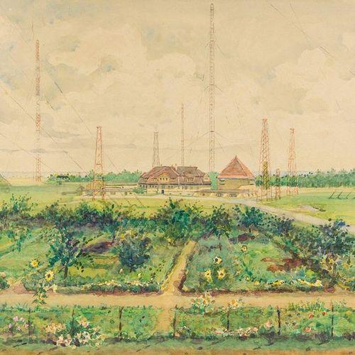 Krüger, Hans (1884 1963). Radio towers (Nauen, nach 1912?). Watercolour. Light c…