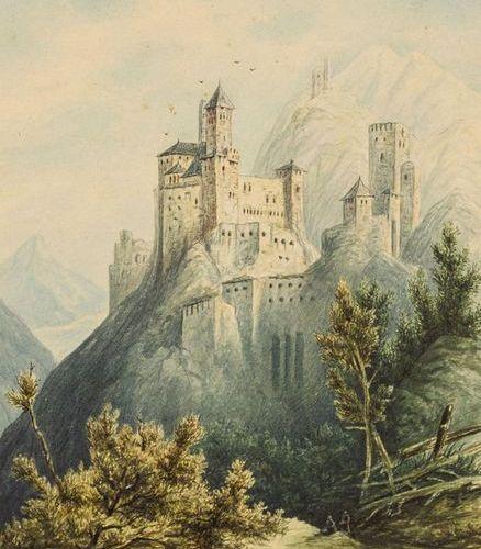 Münchner Romantik, École Christian Adler (1756 1842). Château dans les montagnes…