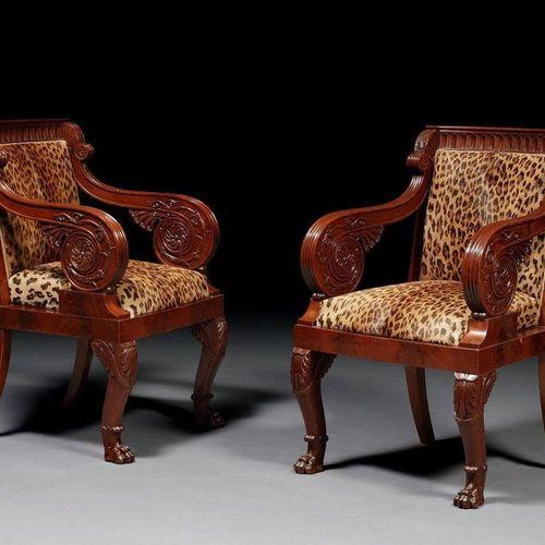 PAIR OF EMPIRE PERIOD ITALIAN ARMCHAIRS  In mahogany and mahogany veneer, the ba…