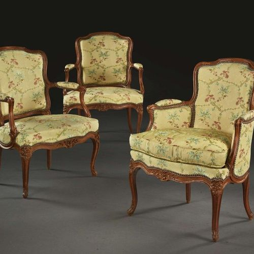A PAIR OF FAUTEUILS AND A BERGER IN CABRIOLET FROM THE ERA LOUIS XV Stamp of Nic…