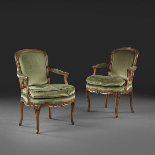 PAIR OF ARMCHAIRS IN CABRIOLET PERIOD LOUIS XV