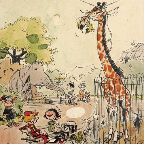 André FRANQUIN André FRANQUIN  1924 1997  Gaston et Spirou au zoo  Encre de Chin…