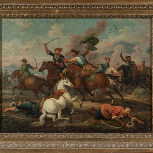 18th century FRENCH school. The clash of the horsemen against the Ottomans. Canv…