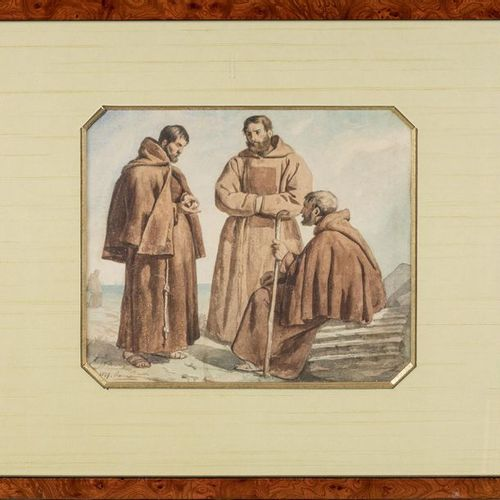 Pierre BONIROTE (Lyon 1811 Orléans 1891). Three Franciscans in a landscape. Pen …