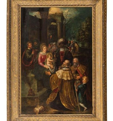 Attributed to Frans FRANCKEN Le JEUNE (1581 1642). The Adoration of the Magi. Oa…