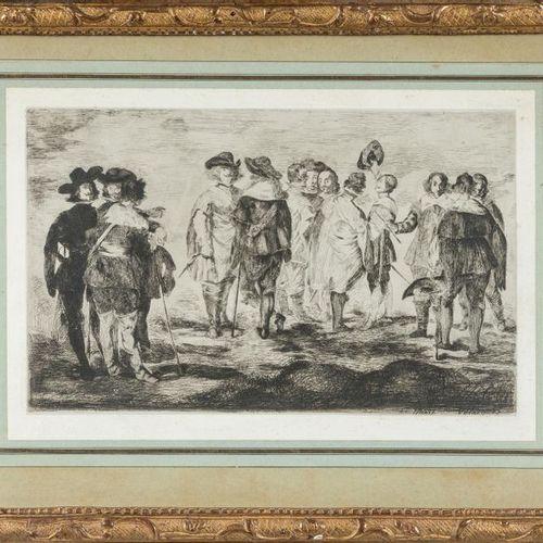 "Edouard MANET (1832 1883), after Vélasquez. ""The little horsemen"". Etching, prin…"
