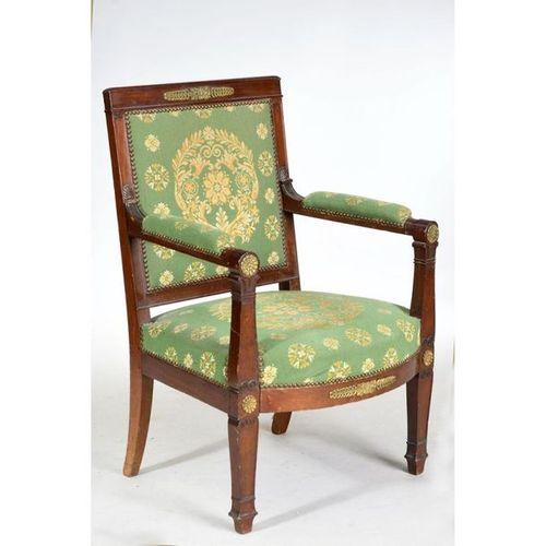 EMPIRE LIVING ROOM SET in mahogany and mahogany veneer including 4 armchairs and…